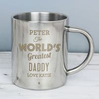 Personalised 'The World's Greatest' Metal Mug - ideal gift for Birthday, Mother's Day, Father's Day, Christmas